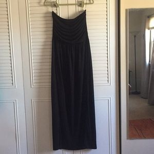Dresses & Skirts - Strapless Black Cotton Maxi Dress